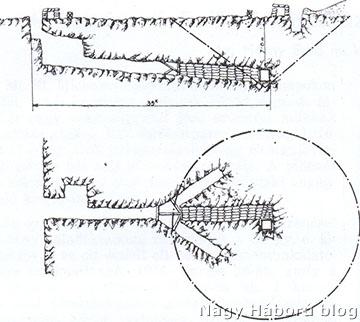 Horny Ernő vázlata az aknafolyosóról