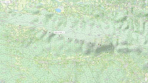 A naplóban említett terület mai Google térképe. A Golnek mai neve Renški vrh