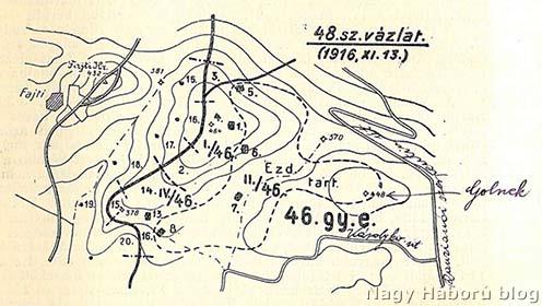 A terület ezredtörténetben található 1916. november 13-ai vázlata Kókay László, jelöléseivel