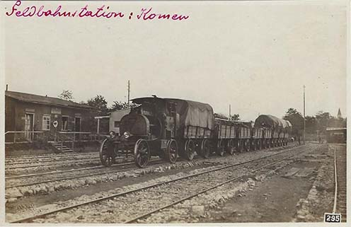 Az említett tábori vasút a komeni állomáson
