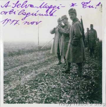 Kókay László és katonatársai a selvamaggiorei lagunáknál 1917 novemberében. A cs. és kir. szegedi 46. gyalogezred 1917. november 16-án kelt át a Tagliamento folyón Latisánánál és érte el az említett települést