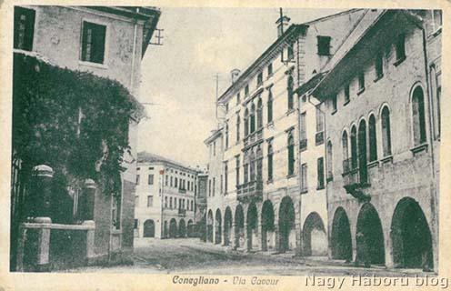 Conegliano a Via Cavourral korabeli képeslapon