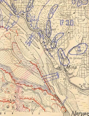 A terület korabeli térképe Kókay László piros színű jelölésével, ami az ő átkelési helyét és támadási útvonalát mutatja