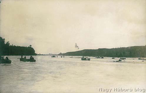 Átkelés a Piavén. A szegedi 46/III. zászlóalj átkelése Mercadellinél 1918. június 15-én délelőtt 11 órakor.