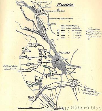A cs. és kir. szegedi 46. gyalogezred 1915. június 15–17-ei harcainak vázlata az ezredtörténetből, amelyen Kókay László bejelölte a rohamszakaszának az útvonalát a 8. század előtt
