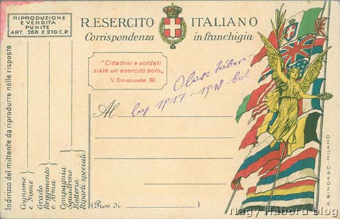 """A szövegben említett olasz """"zsákmány"""" tábori levelezőlapok egyike a sarkán a vörös tintával"""