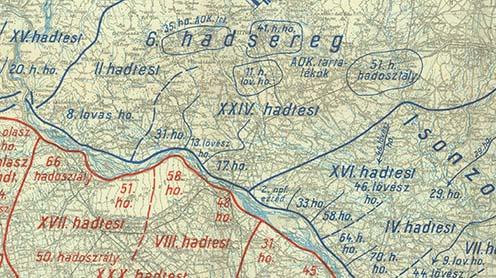 Kölcsönös harctéri helyzet a délnyugati front Piave menti érintett területén 1918. június 15-én, az offenzíva megindulásakor. Kókay László alakulata, a 17. rohamzászlóalj és a cs. és kir. szegedi 46. gyalogezred a 17. hadosztályba tartozott, mely a XXIV. hadtest alárendeltségében működött, ez pedig a József főherceg vezetése alatt álló 6. hadsereg része volt. A térképvázlaton látható a Kókay László által a Montellóról megfigyelt és emlegetett 33. hadosztály is, amely a Papadopoli-szigetnél sikertelenül próbált átkelni a Piavén