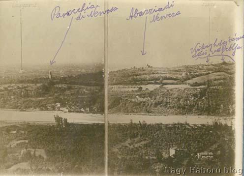 A Montello korabeli fényképen a Piave keleti oldaláról, a Monte Tomboláról. Kókay László kézírásával jelölve a naplóban is emlegetett helyszínek