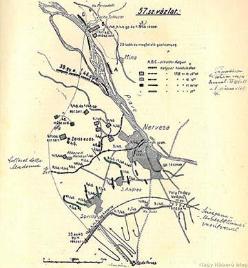 A cs. és kir. szegedi 46. gyalogezred 1918. június 15–17-ei harcainak vázlata az ezredtörténetből, amelyen Kókay László bejelölte a rohamszakaszának az útvonalát a 8. század előtt
