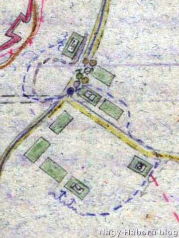 A házcsoport és a rohamjárőrök mozgása Kókay László vázlatából felnagyítva