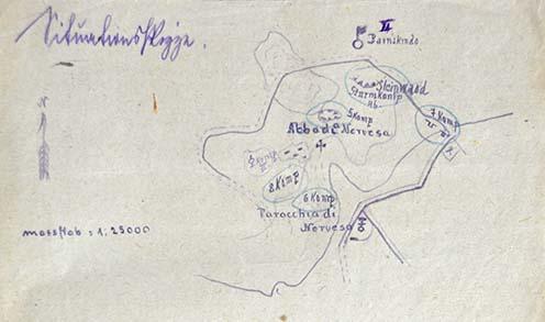 A cs. és kir. szegedi 46. gyalogezred II. zászlóalja századainak elhelyezkedéséről készült vázlat a leváltásuk után, a Montellóra történt visszatérésüket követően 1918. június 18-án este