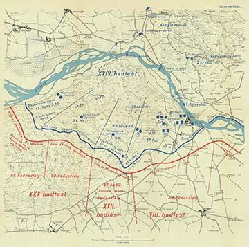 A harctéri helyzet 1918. június 28-án este a Montellón