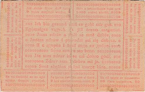 """A szövegben említett, valójában piros 1918. június 21-ei datálású """"egészséges lap"""" Kókay László hagyatékából"""
