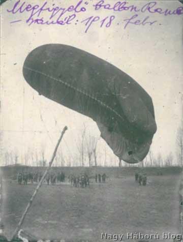Megfigyelőballon Romeránál 1918 februárjában