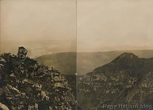 Korabeli panorámafotó a környékről. Kókay László kép hátulján olvasható jelölése szerint a balra lévő világos rész a Piave, mögötte a háttérben a Montello, a kép közepén keresztben húzódó gerincvonal pedig a Monte Tomba