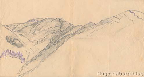 A környékről készített ceruzarajz. Kókay Lászlónak a rajz hátulján található felirata szerint a balra, a háttérben ábrázolt magaslat a Monte Grappa, amelyen bejelölte az ágyúkavernákat. A rajz előterében a saját állásokat, vele szemben az olaszokét, jobbra fönt a Monte Solarolo 1672-es csúcsát jelölte