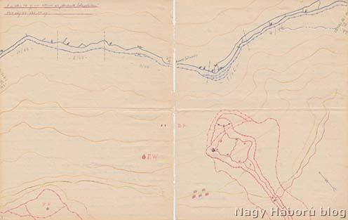 A cs. és királyi szegedi 46. gyalogezred Monte Solarolón 1918. augusztus 20. és október 31. közötti állásairól Kókay László által készített vázlat a naplójából