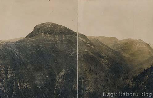 Panorámakép a területről. Kókay László kép hátulján olvasható jelölése szerint balra a Monte Spinuccia, előtte a Casa del Sol, jobbra a Monte Meate, az előtérben a Calcino-völgy