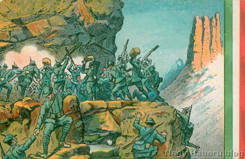 Olasz propaganda képeslap egy alpini csapat sikeres támadásáról Kókay László hagyatékából