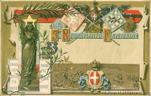 Az olasz 5. gyalogezred említett képeslapja Kókay László hagyatékából