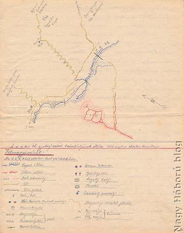 >A cs. és kir. szegedi 46. gyalogezred I. zászlóaljának 1918. szeptember–októberi állásairól a szerző által készített vázlat