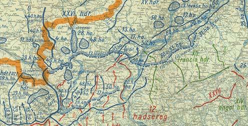 A környéken harcoló csapatok, közöttük a 17. hadosztály visszavonulási útvonalai és gyülekezési területei 1918. október 31-én és november első napjaiban