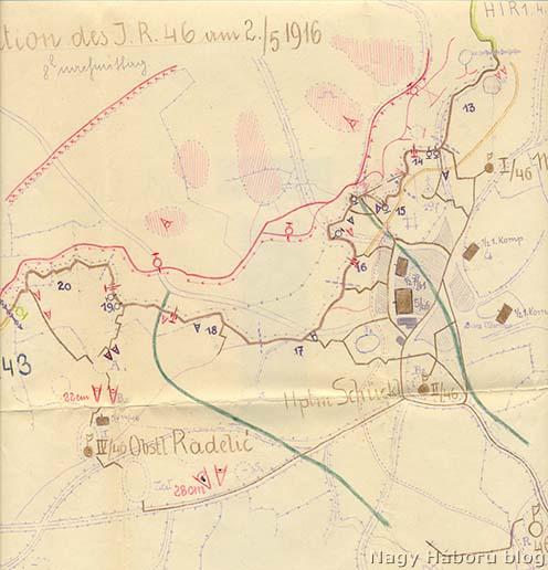 A szegedi 46-os gyalogezred védelmi szakasz a San Martino előtt 1916. május 2-án, az ezred állásba kerülésekor (Hadtörténeti Levéltár II. 488. Cs. és kir. 46. gyalogezred iratai, 3462. doboz)