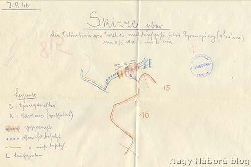 Heim Géza főhadnagy vázlata az aknatölcsér elhelyezkedéséről 1916. május 8-án reggel 6 órakor (Hadtörténeti Levéltár II. 488. Cs. és kir. 46. gyalogezred iratai, 3462. doboz)