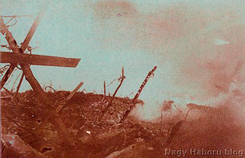 Szögesdrótakadályok San Martinónál tüzérségi tűzben