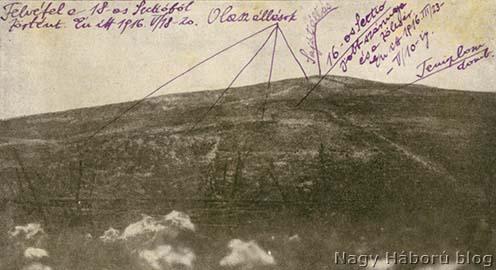A San Martinó előtti terület, háttérben a Monte San Michele. A képen Kókay László jelölései láthatók