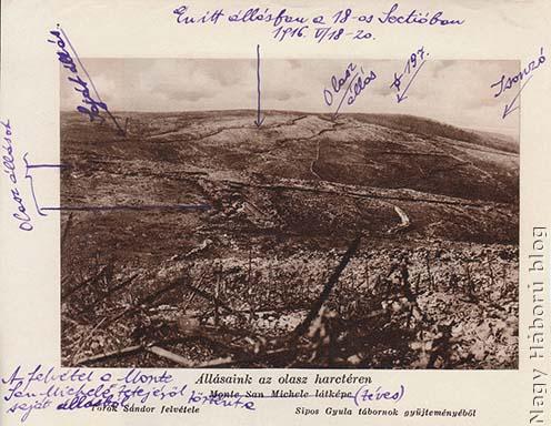 A San Martinótól nyugatra lévő állások fotója, amelyen Kókay László bejelölte saját állásuk helyét a napló most tárgyalt napjainak időszakában