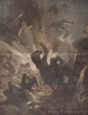 Propagandisztikus kép a korabeli olasz sajtóból egy San Martino del Carsótól délnyugatra végrehajtott sikeres olasz aknarobbantásról