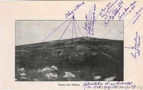 A Monte San Michele a 18-as védelmi szakaszból Kókay László jelöléseivel