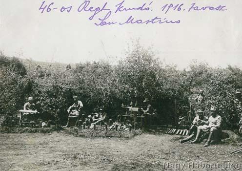Az ezredparancsnokság dolinája San Martinóban 1916 tavaszán