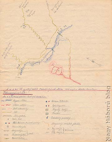A naplóban említett területről, a cs. és kir. szegedi 46. gyalogezred I. zászlóaljának 1918. szeptember–októberi állásairól a szerző által készített vázlat