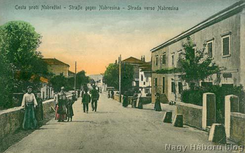 Nabresinai utca részlet korabeli képeslapon