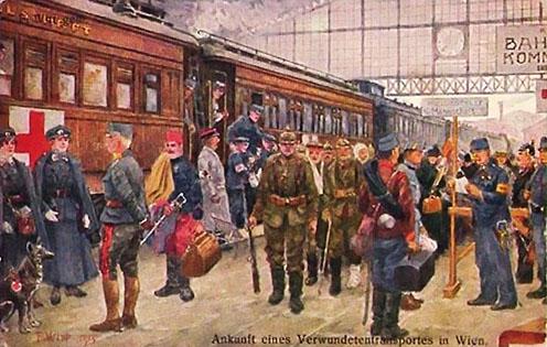 Bécs, pályaudvari jelenet korabeli képeslapon