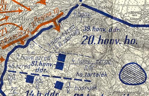 Harctéri helyzet a Doberdó-fennsík északi részén a 2. isonzói csata kezdetén (1915. június 18.). A kép jobb alsó sarkában látható Oppachiasella, ahol az események játszódnak