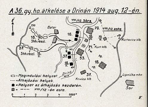 Szakraida István alakulatának átkelése a Drinán