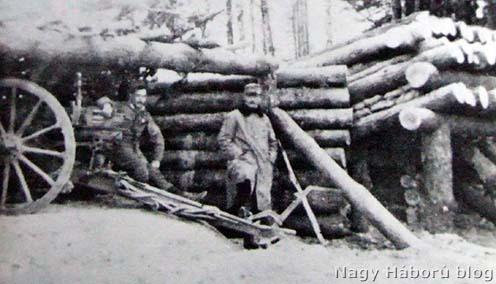 Tüzérezredünknek a két rajvonal közé kihelyezett szakasza a 3-ik ütegtől a Karpilowkai erdőben, 1916. március (Vitéz szakasz).