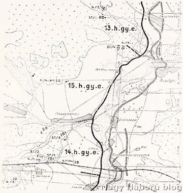 Tüzérezredünk ütegeinek tüzelőállásai, fő lövőirányai és éjjeli tűzkörletei 1916 június elején a Bruszilov orosz tábornok támadásának idején Karpilowka-Olykánál