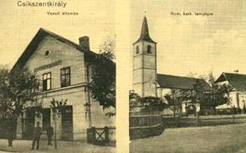 A csíkszentkirályi vasútállomás a korabeli képeslap baloldalán