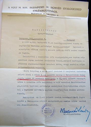 A gyűjtemény Hadilevéltárba adásáról szóló levél