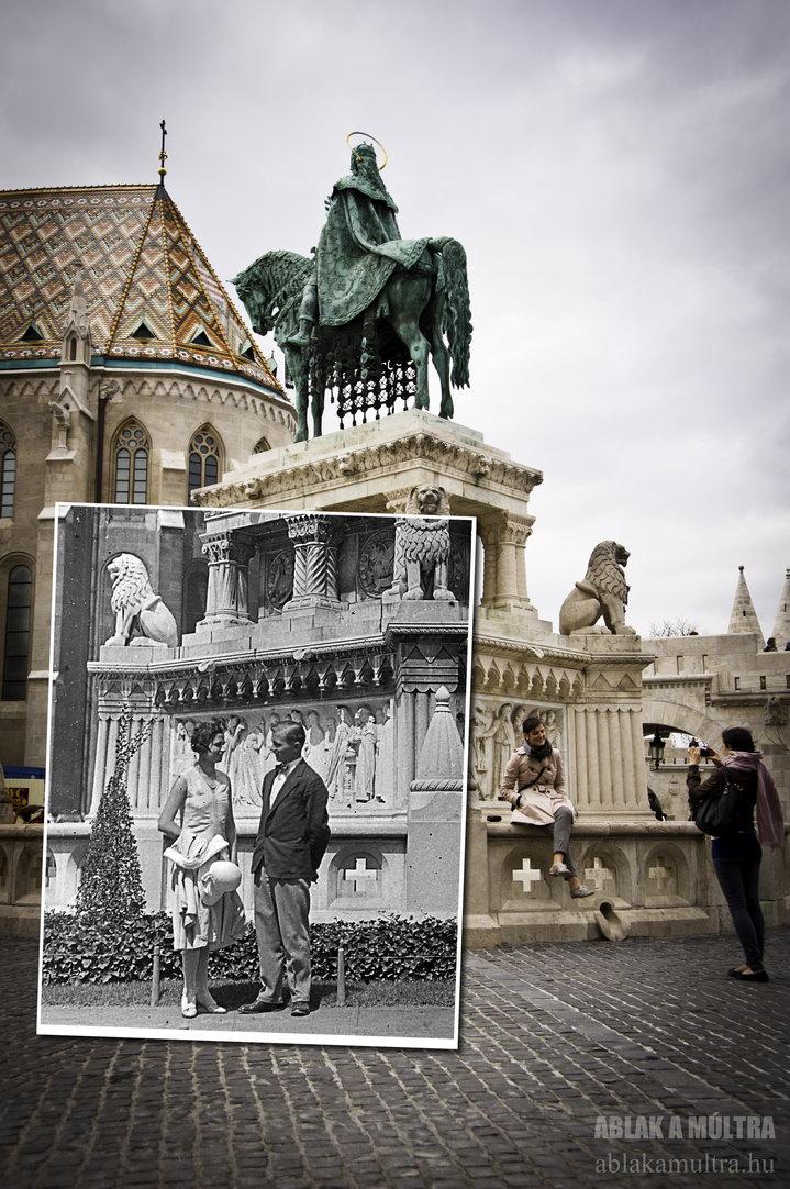 Budapest, I Vár, Szent István szobra a Mátyás templom és a Halászbástya között fortepan_21309~1930-2012.jpg