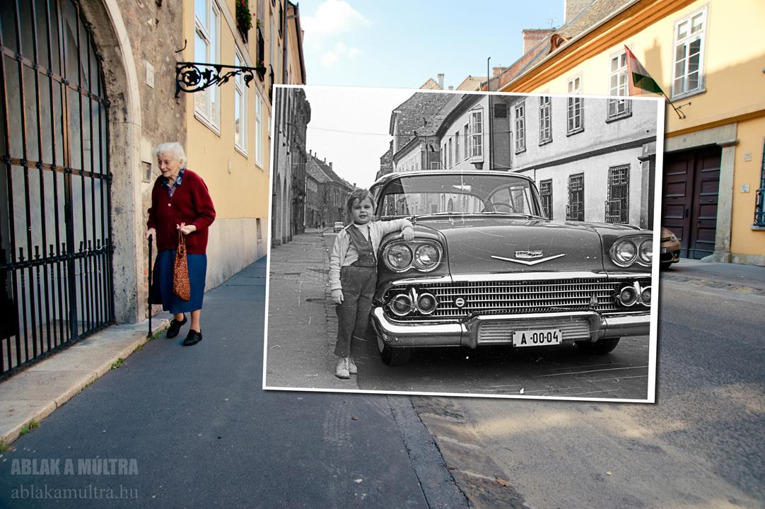 Budapest, I budai Vár, Úri utca a Szentháromság utcától a Nőegylet utca felé nézve, Chevrolet típusú gépkocsi miniszteri rendszámmal (A) fortepan_51233~1959-2014.jpg