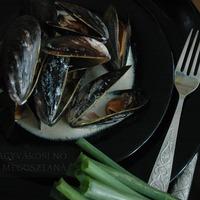 Ciderben főtt kék kagyló