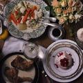 Zöldségek á la grecque tojással és fűszeres szósszal, tárkonyos csirke, mini pavlovák, gránátalmával