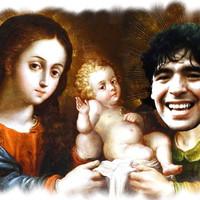 A jászolban: a kis Jézus és Maradona