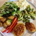Töltött krumplik színes zöldségekkel