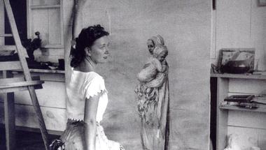 Dorothea Tanning in her studio